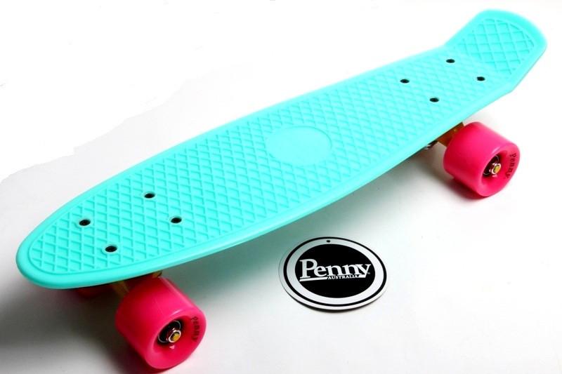 "Скейт ""Penny Board"" Бирюзовый цвет. Гравировка"