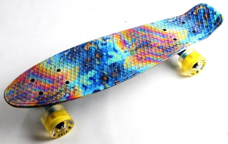 """Скейт """"Penny Board"""" """"Fish"""" Graffity 2. Светящиеся колеса."""