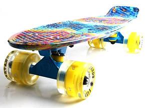"""Скейт """"Penny Board"""" """"Fish"""" Graffity 2. Светящиеся колеса., фото 3"""