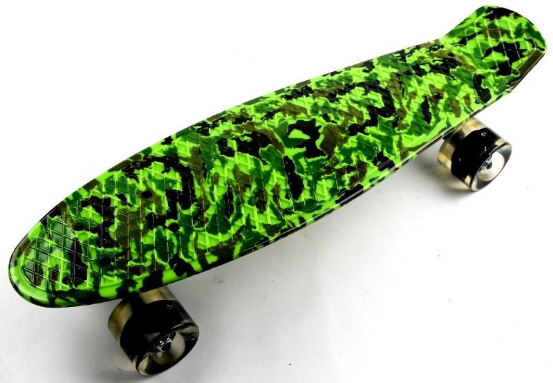 """Скейт """"Penny Board"""" """"Military"""" Светящиеся колеса"""