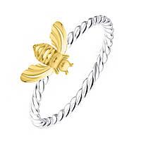 """Серебряное кольцо с позолотой """"Пчёлка"""""""