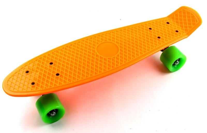 """Скейт """"Penny Board"""". Оранжевый цвет. Салатовые колеса."""