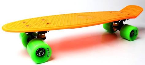 """Скейт """"Penny Board"""". Оранжевый цвет. Салатовые колеса., фото 2"""