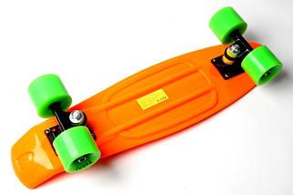 """Скейт """"Penny Board"""". Оранжевый цвет. Салатовые колеса., фото 3"""