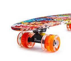 """Скейт """"Penny Board"""" """"NICKEL 27"""" GRAFFITY. Светящиеся колеса, фото 2"""