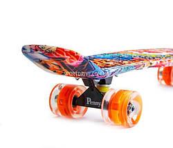 """Скейт """"Penny Board"""" """"NICKEL 27"""" GRAFFITY. Светящиеся колеса, фото 3"""