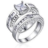 2 шт. / Комплект Classic Кубическое циркониевое женское кольцо для новобрачных Свадебное Платина Стандарты Перьевые кольца для женщин - 1TopShop