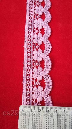 Кружево макраме с кордом 14 метров. Кружево цветы декоративные. Цвет пудра, фото 2