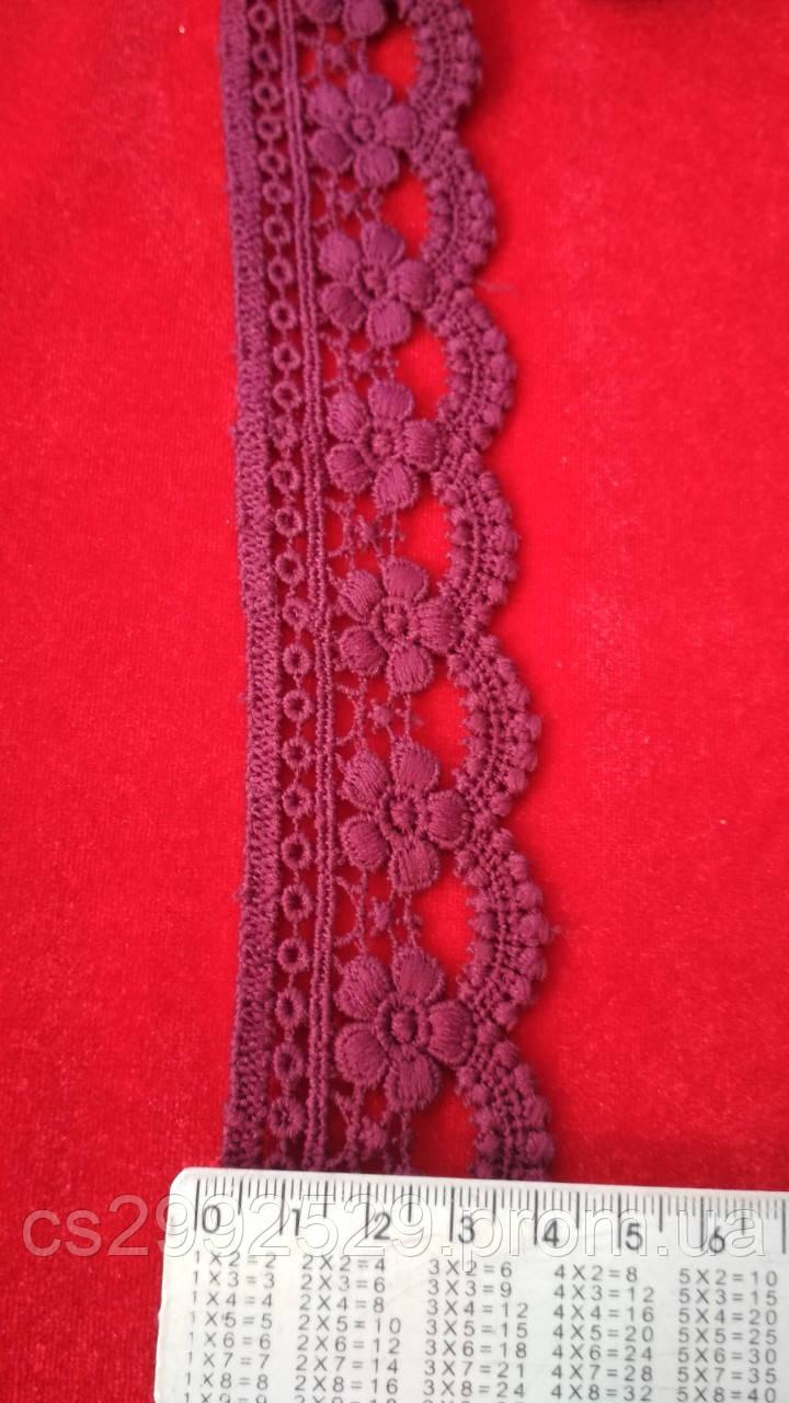 Кружево макраме с кордом 14 метров. Кружево цветы декоративные. Цвет бордовый