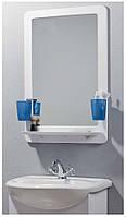 Зеркало для ванной комнаты в пластиковой раме с полкой и двумя стаканчиками, размер 530*794 мм