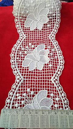 Кружево сетка 9 метров цветы. Кружево макраме цветы Турецкое. Цвет белый, фото 2
