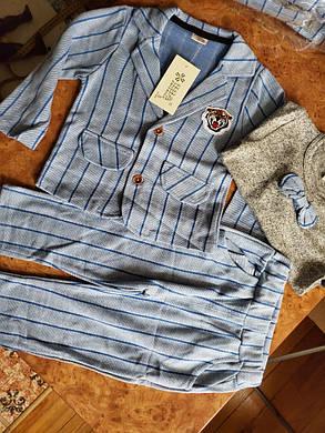 Нарядный костюм тройка на мальчика  джентельмен  голубой в полоску, фото 2