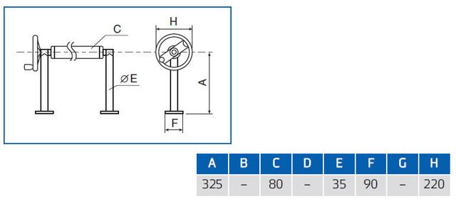 размеры сматывающего устройства для солярной пленки Vagner с фланцами