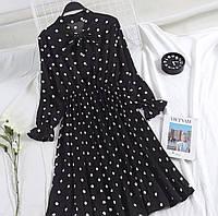 Платье женское шифоновое в горошек