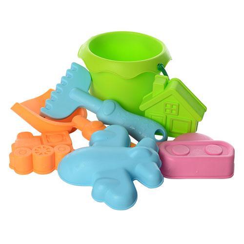 Набор для песочницы силиконовый: ведерко, лопатка, грабли, 4 формочки