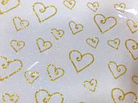 Глиттерный фоамиран белый с рисунком сердечко, толщина 2 мм, 20 на 30 см - 10 грн