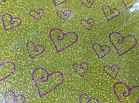 Глиттерный фоамиран золотой с рисунком сердечко, толщина 2 мм, 20 на 30 см - 10 грн