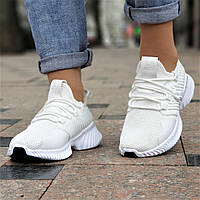 Женские белые кроссовки летние Alphabounce Instinct, на толстой подошве (Код: 1419а), фото 1