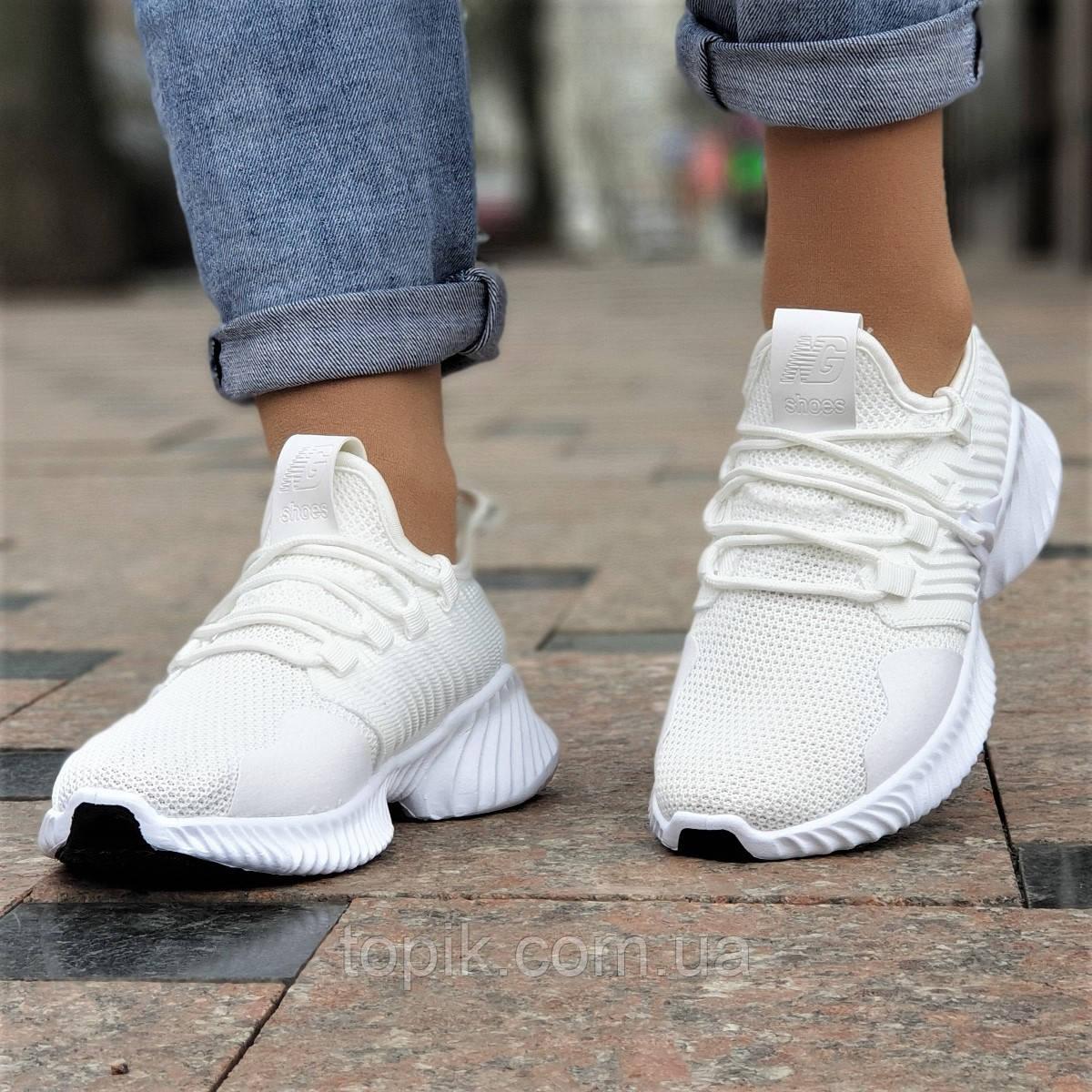 Женские белые кроссовки летние Alphabounce Instinct, на толстой подошве (Код: 1419а)