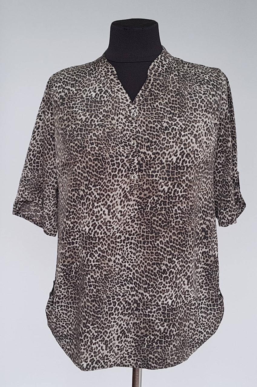Женская блуза рубашечного кроя леопардовой расцветки