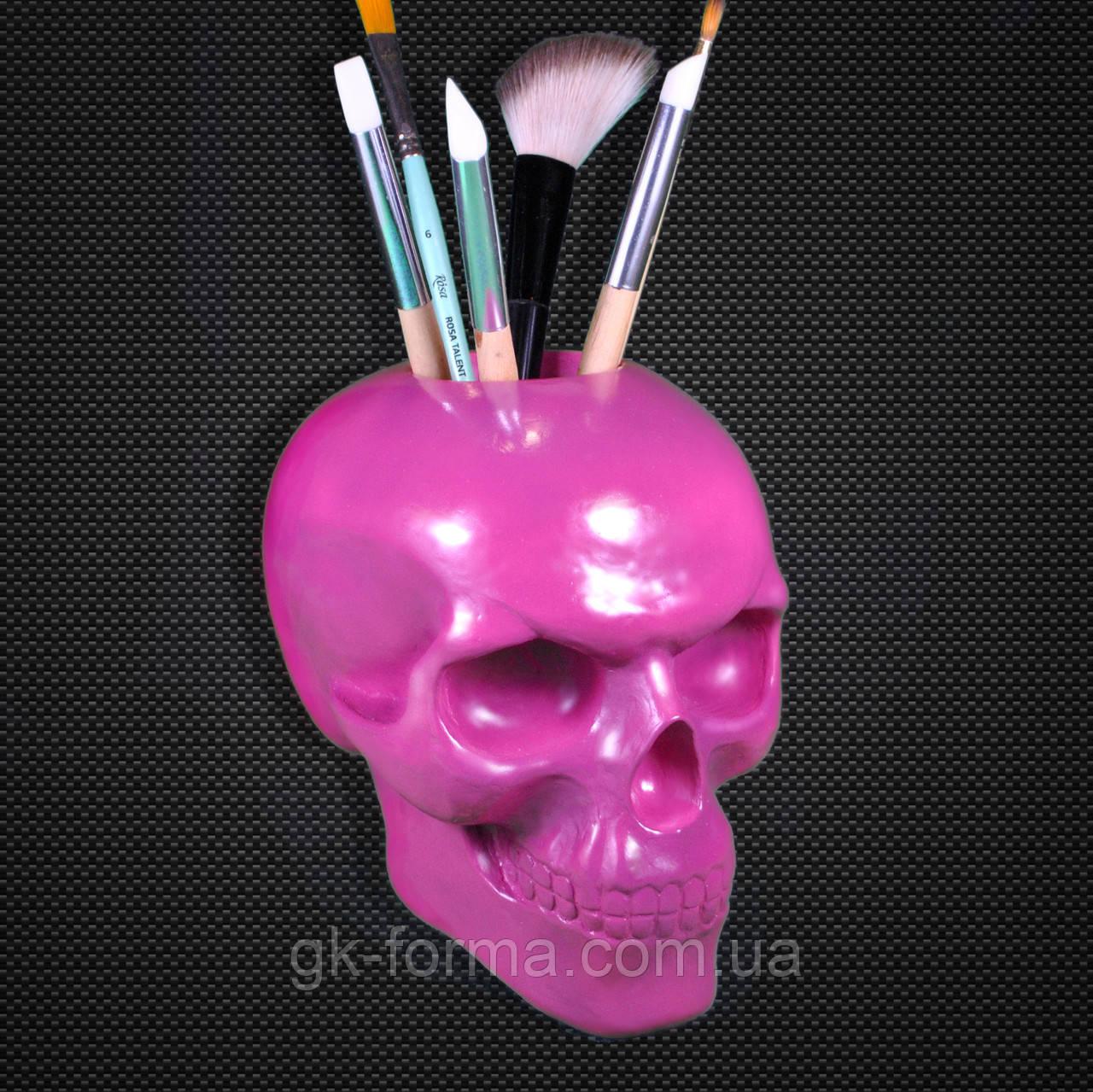 Розовый череп из гипса с отверстием.Подставка-органайзер для кистей и карандашей