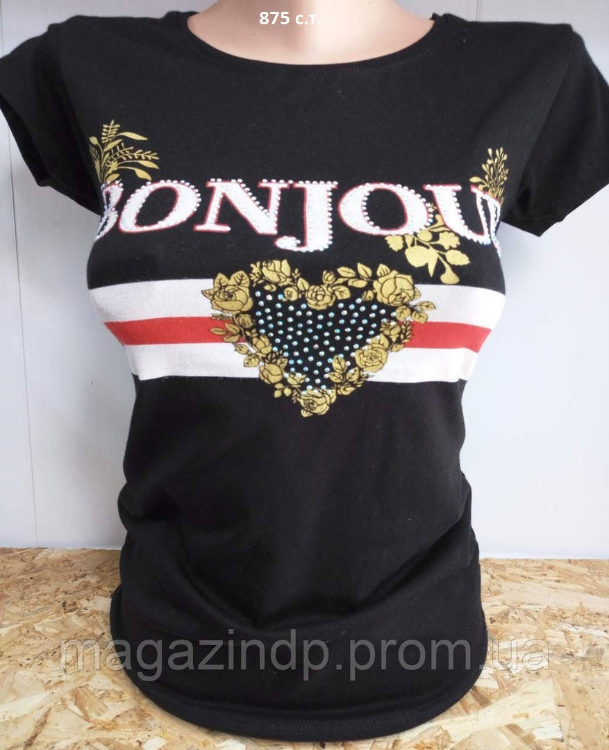 Летняя женская футболка с накатом 875 с.т. Код:943981072