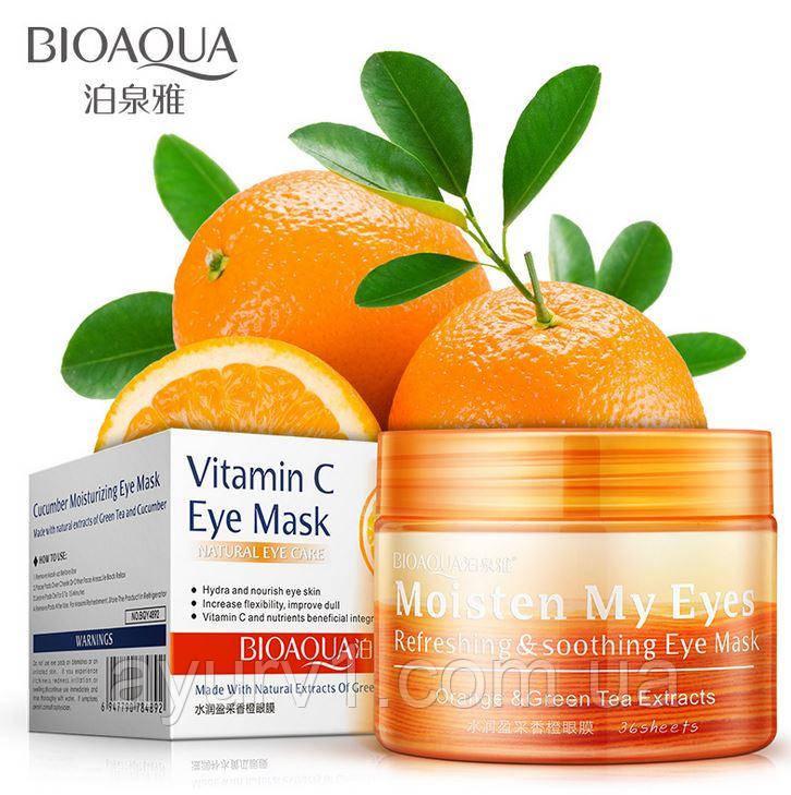Тканевые патчи для век с экстрактом апельсина и зеленого чая /BioAqua Orange & Green Tea Eye Mask / 36 шт.