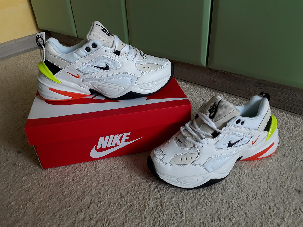 d8b97cc42990ee Мужские кроссовки Nike M2k Tekno White/Green/Orange белые с зеленым  оранжевым
