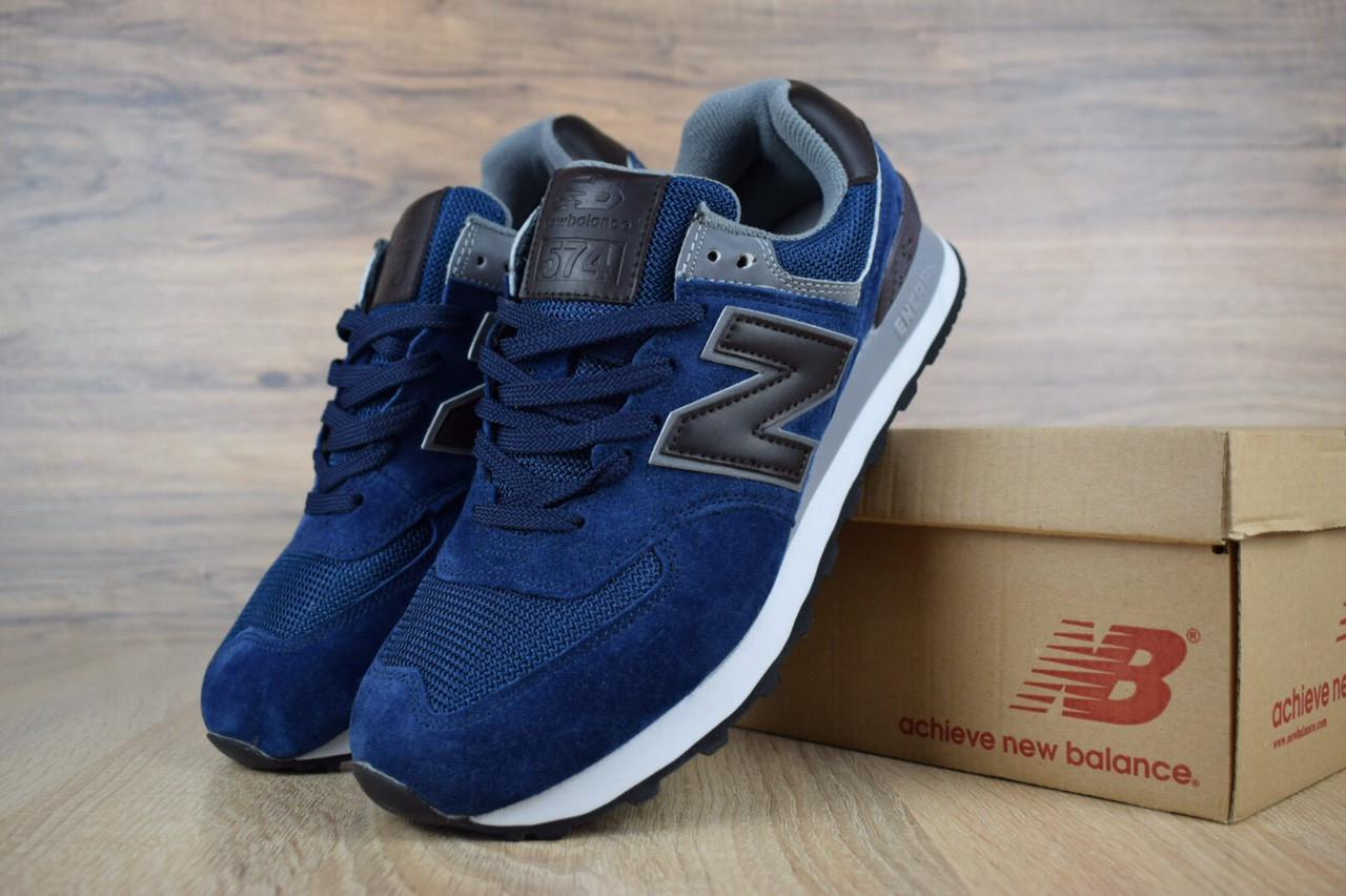 8bc8b64b89904d Мужские кроссовки New Balance 574, замша, сетка, синие, цена 1 250 ...