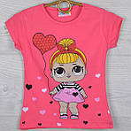 """Футболка детская """"LOL с сердечком"""" для девочек 1-3-5-7 лет (86-122 см ). Коралловая. Оптом"""