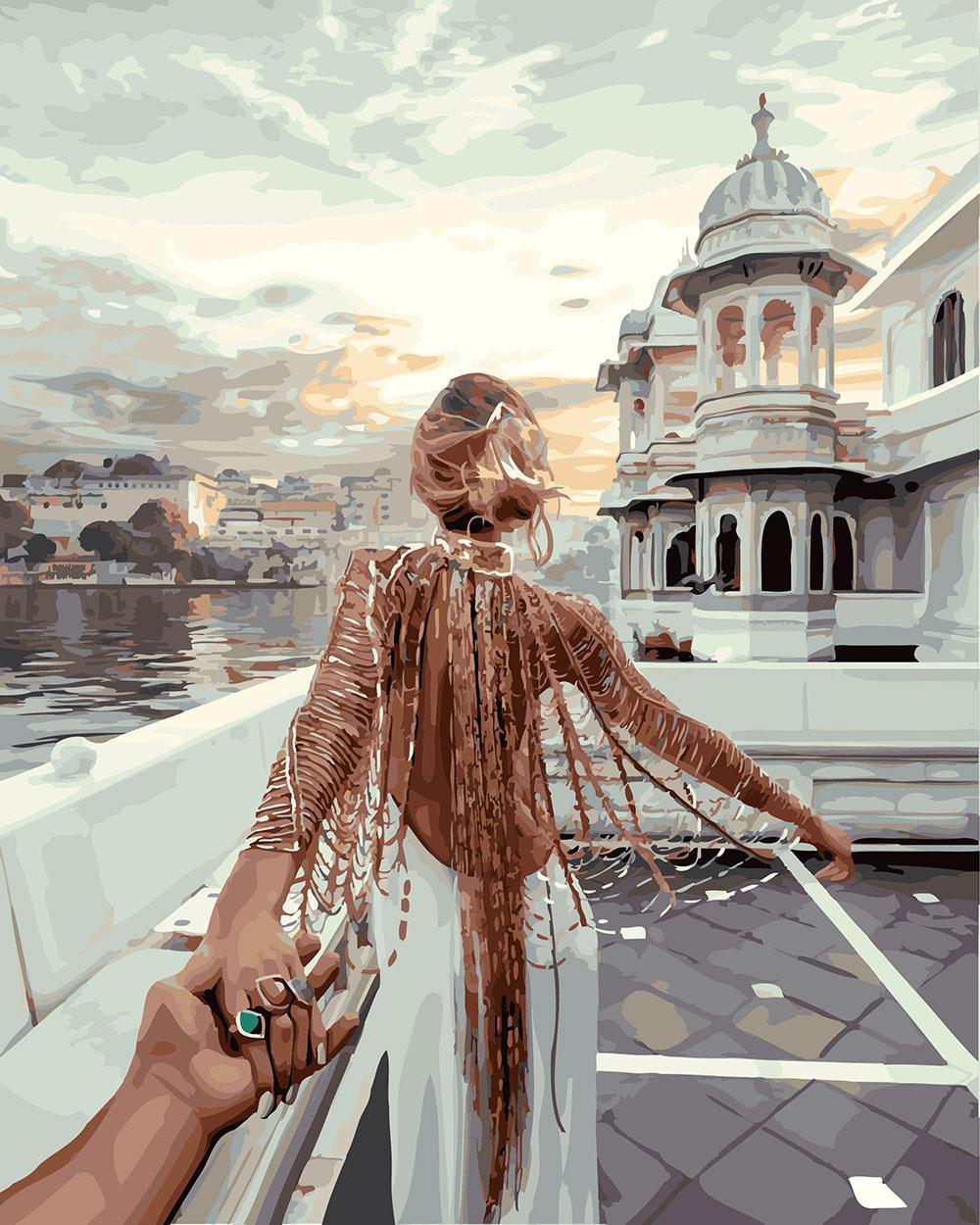 Картины по Номерам 40x50 см. Следуй за мной. Озеро Удайпур