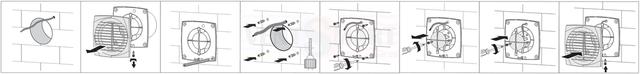 Порядок установки (монтажа) осевого вытяжного вентилятора с тонкой передней панелью Вентс 150 ДТН непосредственно в вентиляционную шахту в ванной комнате, в санузле, на кухне или другом помещении. Вентилятор уже оснащён антимоскитной сеткой.