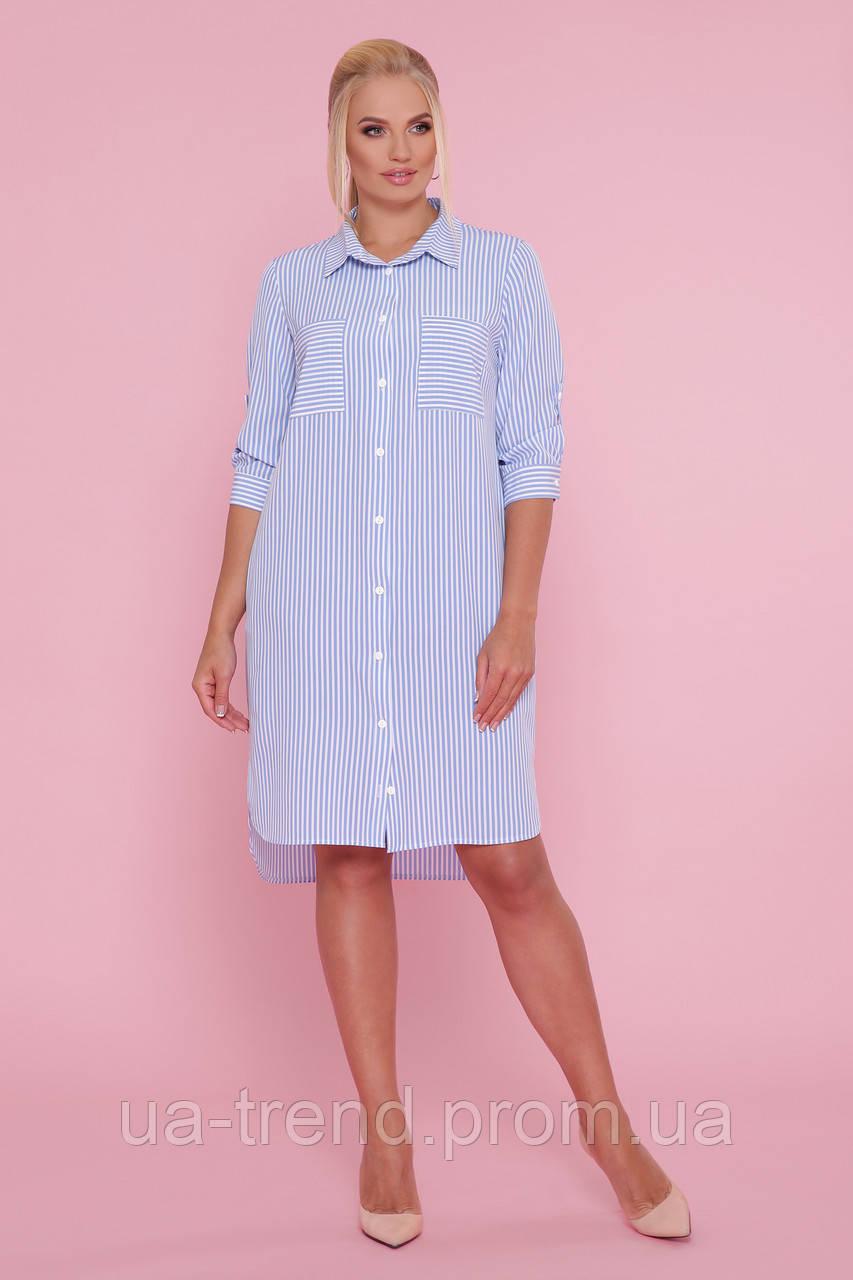 Сукня-сорочка в смужку великих розмірів
