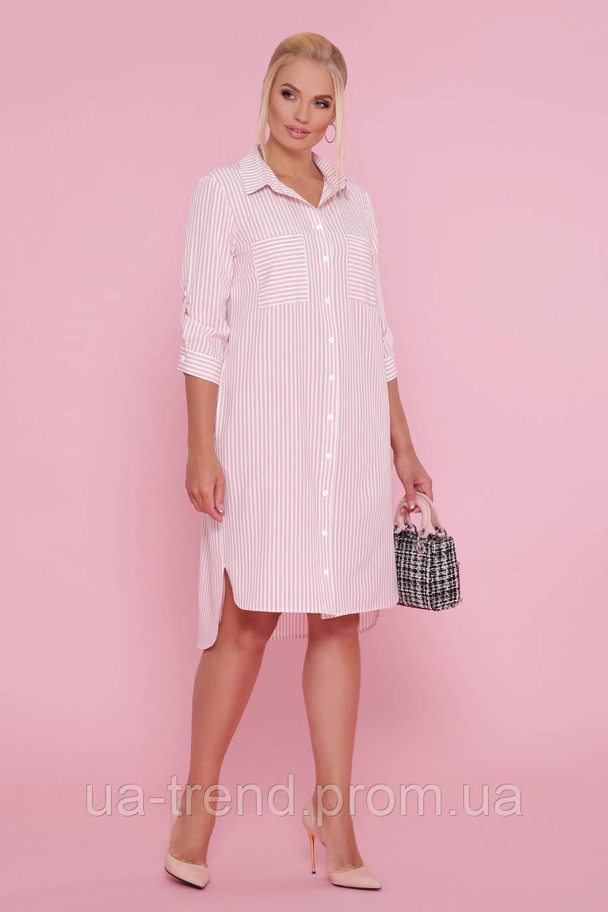Літнє плаття-сорочка в смужку батал