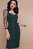 Зеленое платье с рукавом из сетки