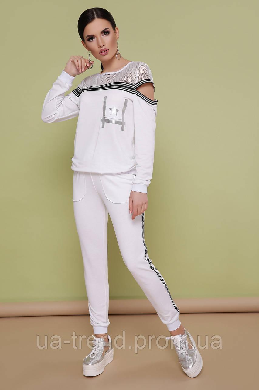 Жіночий трикотажний костюм білого кольору