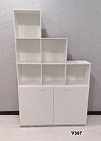 Стеллаж (шкаф)  с открытыми секциями и накопителем с полкой. Модель V367 белый