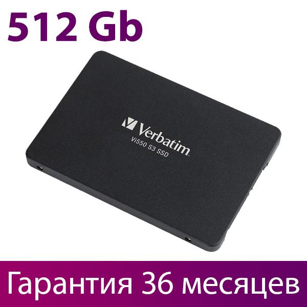 """SSD диск 512 Гб/Gb, Verbatim Vi550 S3, SATA3, 2.5"""", 3D TLC, 560/535 MB/s (49352), ссд накопитель"""