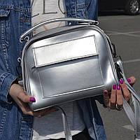 "Женская кожаная сумка-саквояж  ""Элизавет Silver"", фото 1"