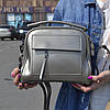 "Женская кожаная сумка-саквояж  ""Элизавет Deep Silver"""