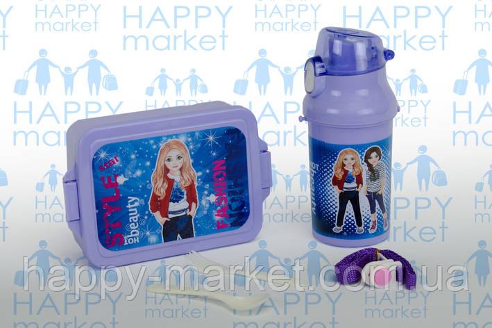 Контейнер для еды- ланч-бокс+Бутылочка для воды Стильные девочки, фото 2