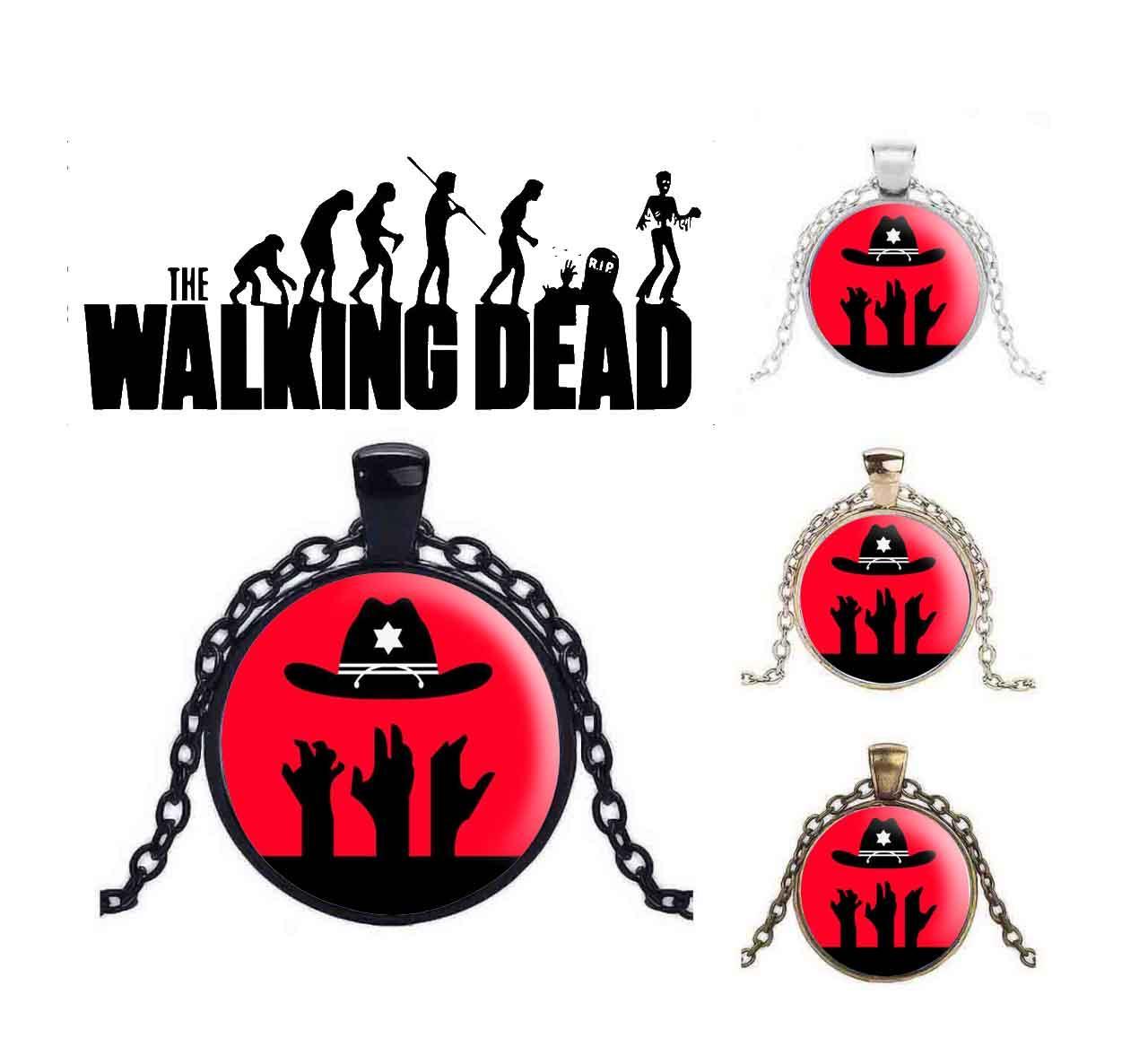 Кулон Ходячие Мертвецы/ The Walking Dead  красный со шляпой Рика
