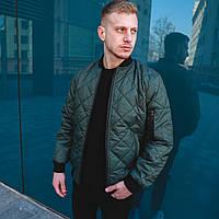Стеганая куртка мужская весенняя ромбиком темно-зеленая