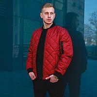 Стеганая куртка мужская весенняя ромбиком бордовая