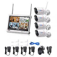 "Комплект Wi-Fi IP камер 4 ONVIF камеры 720P 1MP видео наблюдения 12"" экран"