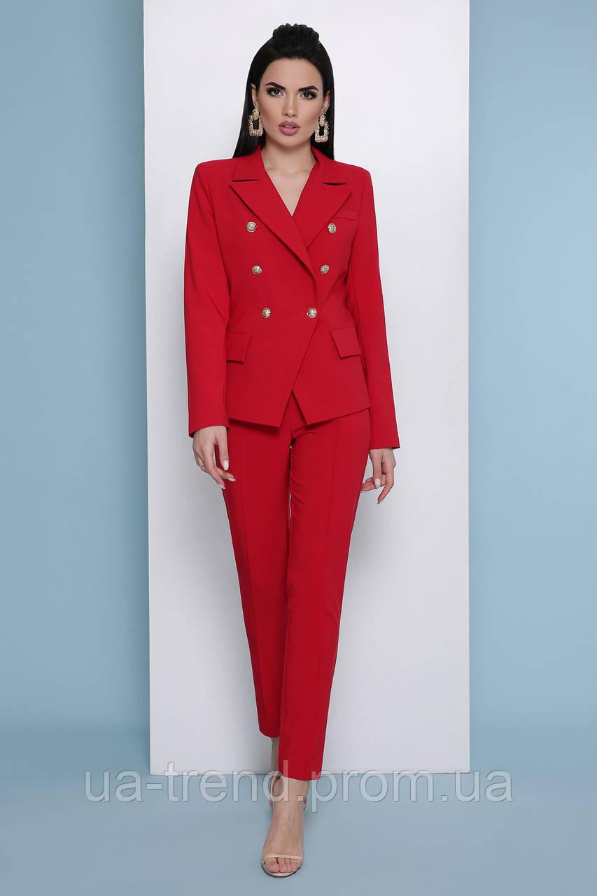 Червоні жіночі брюки високої посадки