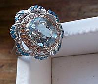 Необычный  перстень с аквамарином, апатитами  и золотистыми сапфирами , размер 16,5 от студии LadyStyle.Biz