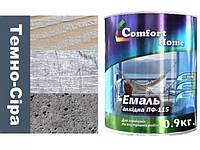 Фарба Темно Сіра ПФ-115 для деревини та металу Комфорт 0.9 кг.
