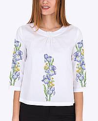Заготовка вишиванки жіночої сорочки та блузи для вишивки бісером Бисерок «Ніжний ірис»  Габардин (білий) (Б-133 ГБ)