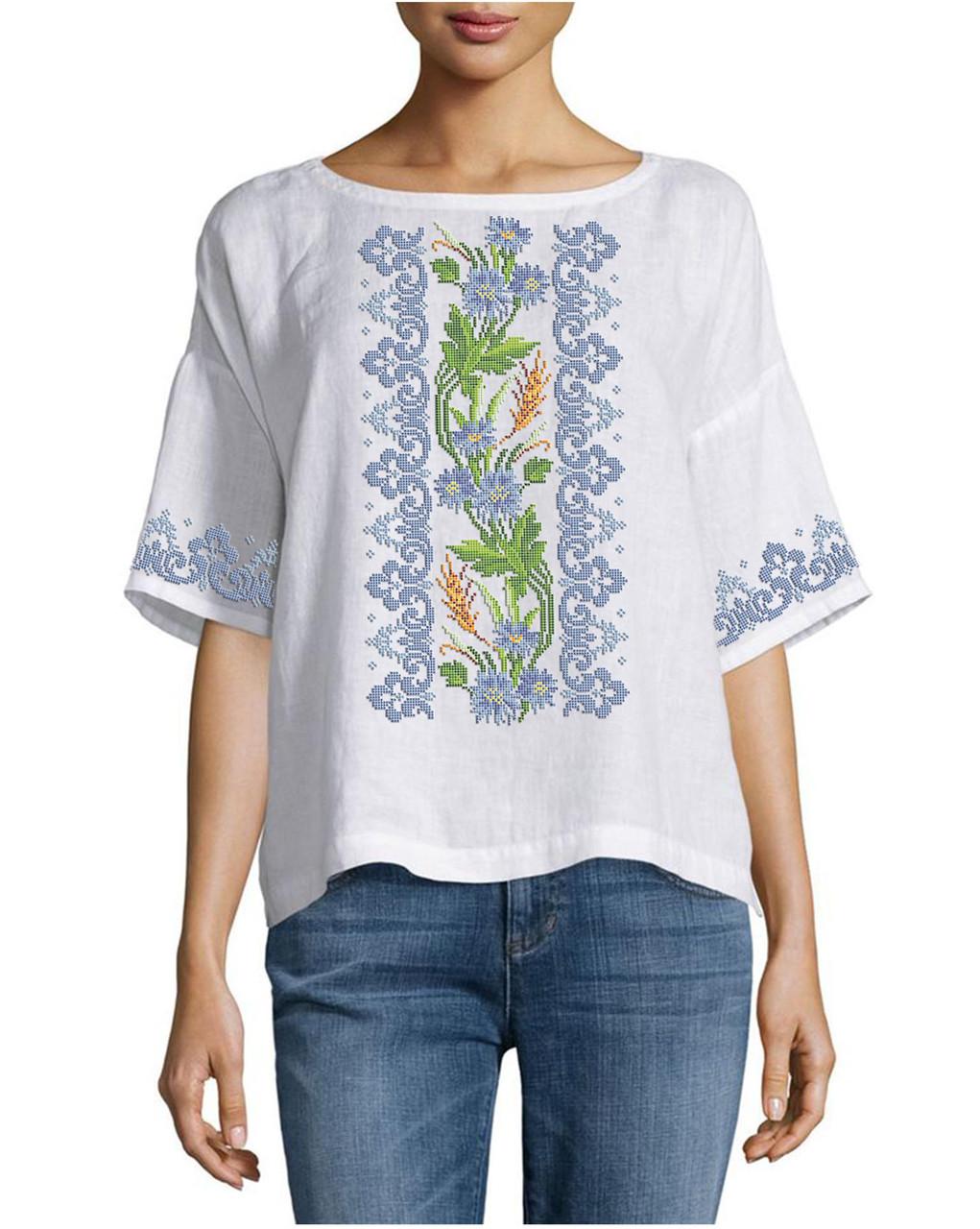 Заготовка вишиванки жіночої сорочки та блузи для вишивки бісером Бисерок  «Волошки в орнаменті 110»  Домоткан (білий) (Б-110 ДМБ)